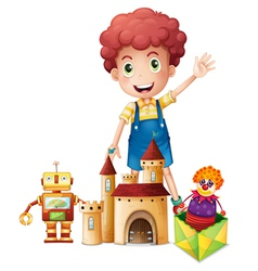 A boy waving his hand with toys vector image