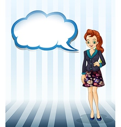An office girl with an empty cloud template vector