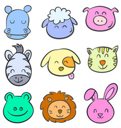Animal head colorful doodle style vector