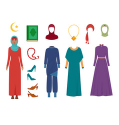 arab women clothes national islamic fashion vector image