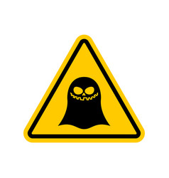 Attention ghost dangers yellow road sign spook vector