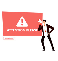Attention please banner template vector