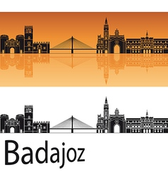 Badajoz skyline in orange background vector