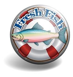 Badge of fresh fish vector