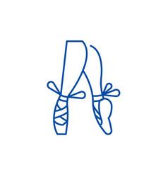 Ballet pointe shoes line icon concept ballet vector