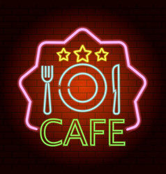 breakfast cafe neon light icon realistic style vector image