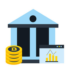 business bank bitcoin cryptocurrency statistics vector image