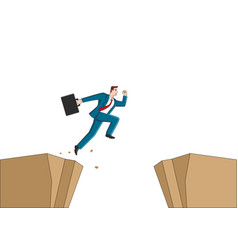 Businessman jumps over ravine vector