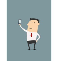 Businessman makes selfie shot vector image