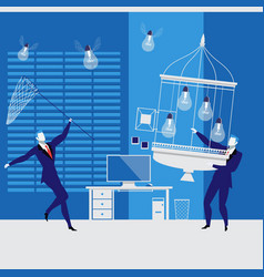 Businessmen catching idea bulbs vector