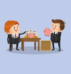businessmens with money savings vector image
