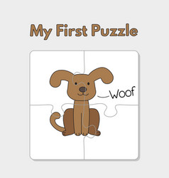 cartoon dog puzzle template for children vector image