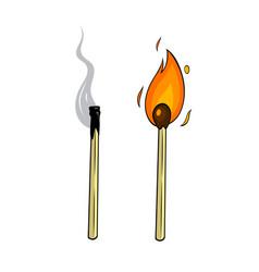 Cartoon lighted match and burnt match vector