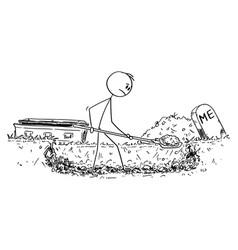 Cartoon man digging his own grave vector