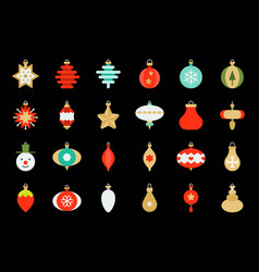 christmas ball ornaments icon set 1 flat design vector image