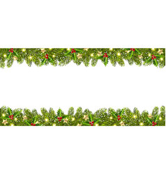 Christmas banner with christmas tree garland vector