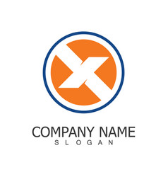 circle letter x company logo vector image