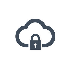 cloud computing lock icon isolated on clean vector image