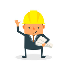 Construction worker engineer architect holding vector