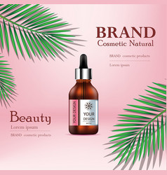 Cosmetic ads with tropical leaves on pink vector