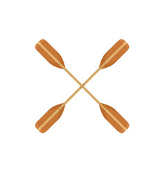 Crossed kayak paddle icon flat style vector
