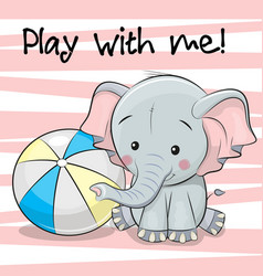 Cute elephant with a ball vector