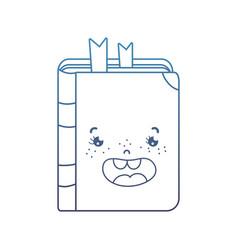 Degraded line kawaii happy book school utensil vector
