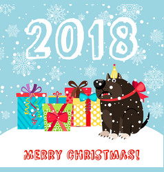 Dog and presents 2018 christmas carda vector