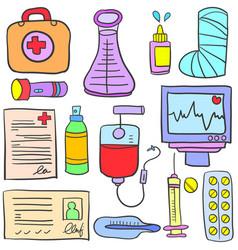 Doodle of element medical design vector