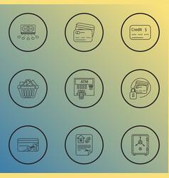 economy icons line style set with safe bonus card vector image