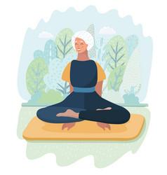Elderly woman practicing yoga in park vector