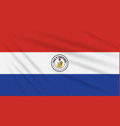 Flag paraguay - back side swaying in wind vector