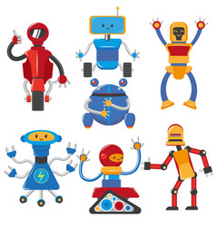 flat cartoon funny male robots set vector image