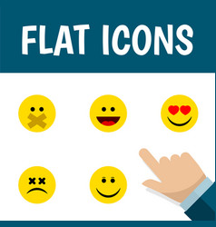 Flat icon expression set of laugh joy hush and vector