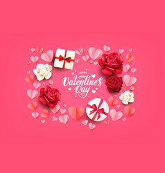 flat lay valentines card vector image