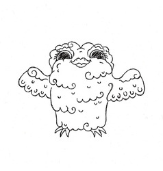 Flying doodle owl Free hugs fluffy bird vector image