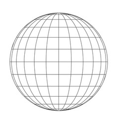 front view of planet earth globe grid of meridians vector image vector image