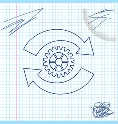 Gear and arrows as workflow concept line sketch vector