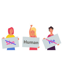 Gender neutral person he she - human design vector