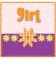 Girl birthday card vector