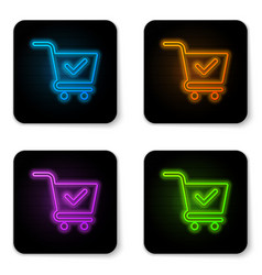 glowing neon shopping cart with check mark icon vector image