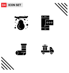Group solid glyphs signs and symbols vector