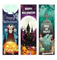 Halloween horror ghosts vampire zombie pumpkins vector