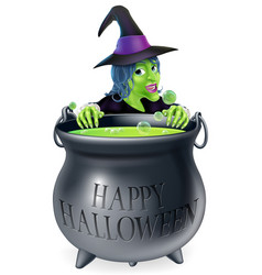 halloween witch and cauldron vector image