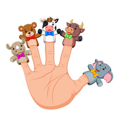 Hand wearing cute 5 finger puppets vector
