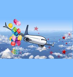 Happy birthday card airplane flying in sky vector