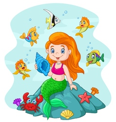 Happy little mermaid holding seashell the rock vector