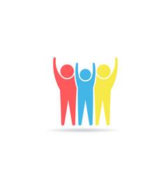 happy winners people logo design vector image
