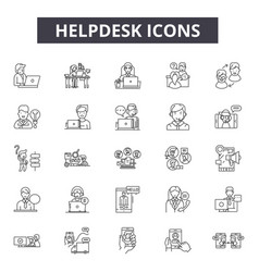 helpdesk line icons signs set outline vector image