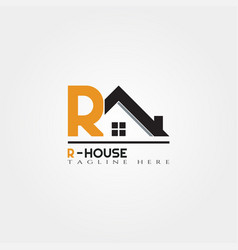House icon template with r letter home creative vector